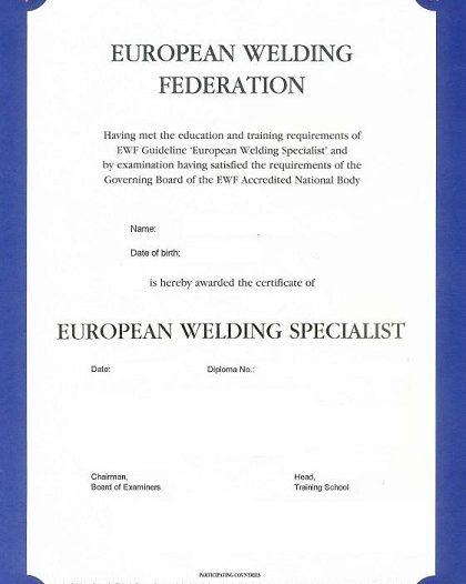 Curs pentru obținerea calificării de Specialist Sudor Internațional / European