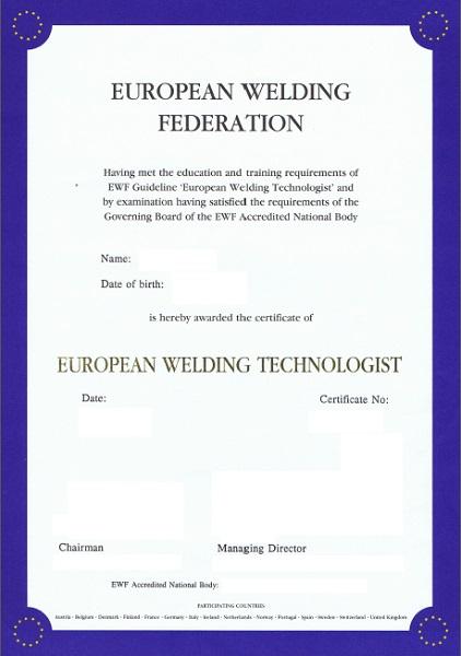 Curs pentru obținerea calificării de Tehnolog Sudor Internațional / European