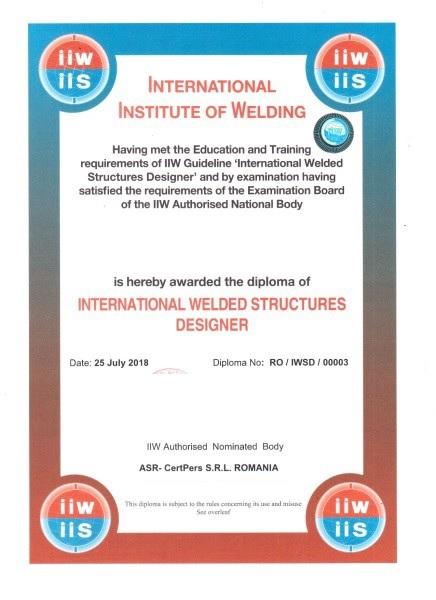Curs pentru calificarea de Proiectant internaţional de structuri sudate nivel standard (IWSD-S)