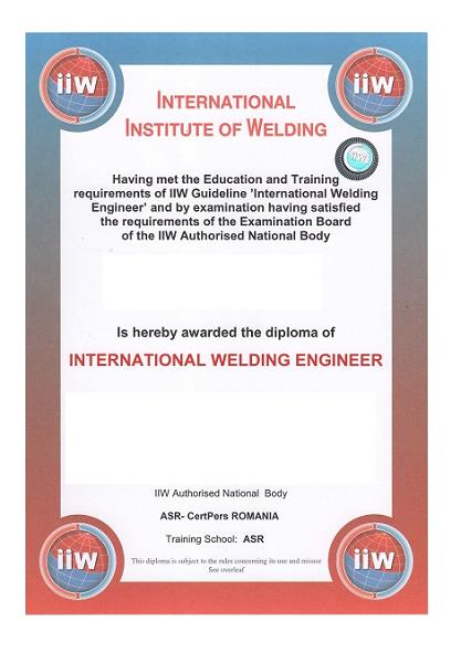 Curs pentru obţinerea calificării de Inginer Sudor Internațional / European